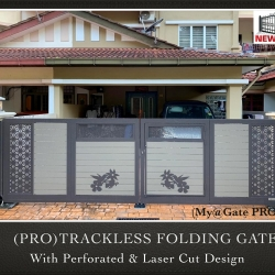 (PRO) Trackless Folding Gate with Perforated & Laser Cut Design