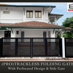 (PRO) Trackless Folding Gate with Perforated Design & Side Gate