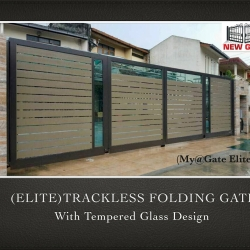 (ELITE) Trackless Folding Gate with Tempered Glass Design