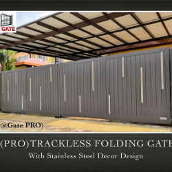 (PRO) Trackless Folding Gate with Stainless Steel Decor Design