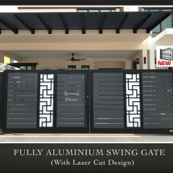 Fully Aluminium Swing Gate with Laser Cut Design