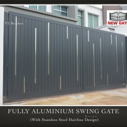 Fully Aluminium Swing Gate with Stainless Steel Hairline Design