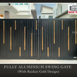 Fully Aluminium Swing Gate with Raidait Gold Design