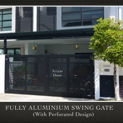 Fully Aluminium Swing Gate with Perforated Design