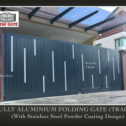 Fully Aluminium Folding Gate (TRACK) (with Stainless Steel Powder Coating Design)